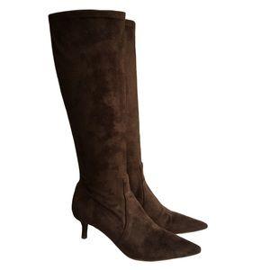 Donald J Pliner Elisa Brown Suede Stretch Boot